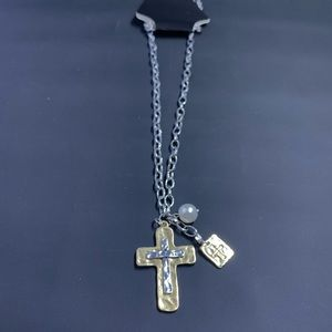 Cross with Silver-tone Chain Necklace